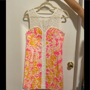 Lily Pulitzer Pink and Orange Lace Floral Dress